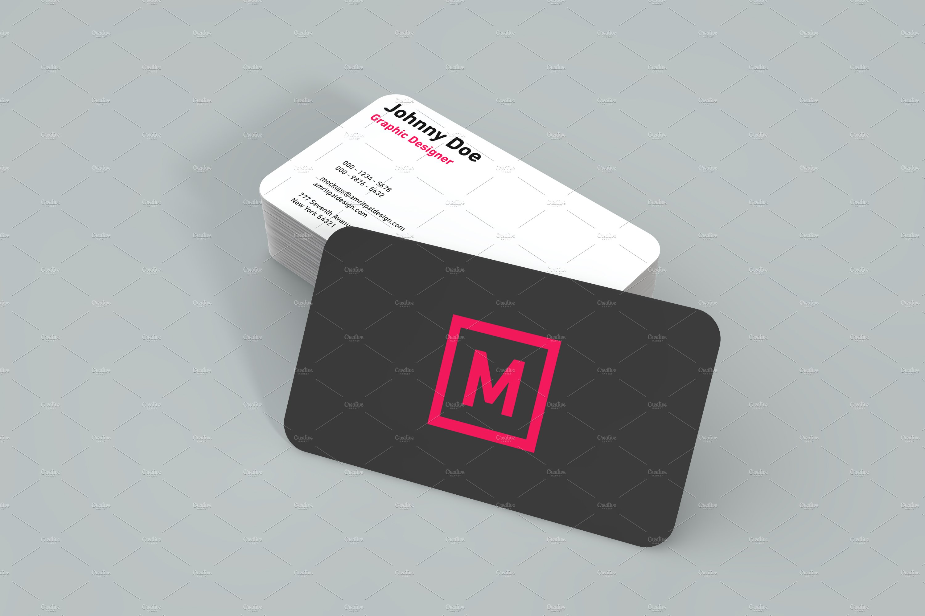 Rounded TwoSide Business Card Mockup ~ Product Mockups ~ Creative Market