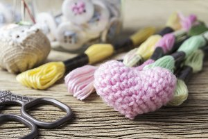Pink heart knitting wool