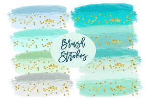 Mint Watercolor Splashes Clipart