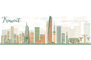 Abstract Kuwait City Skyline