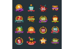 Happy birthday badges vector icons