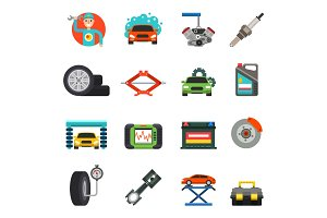 Car repair service icons vector set.