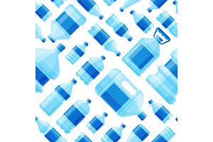 Water bottle seamless pattern vector.
