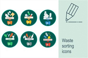 Waste sorting icons