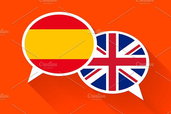 Two White Speech Bubbles With Flags