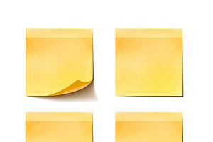 Set of yellow sticky notes