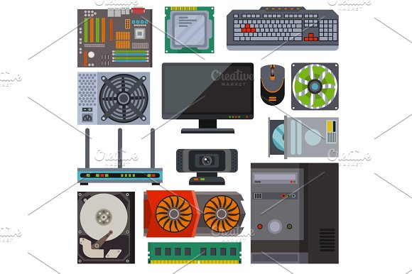 Set of various electronics devices computer parts vector.