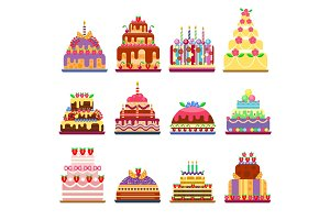 Cake pie isolated vector illustration.