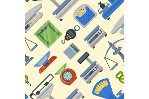 Weight measurement instrumentation tools seamless pattern vector.