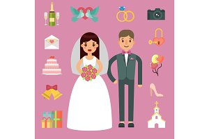 Bride and groom wedding couple vector illustration.