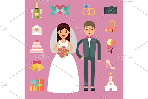 Bride And Groom Wedding Couple Vector Illustration