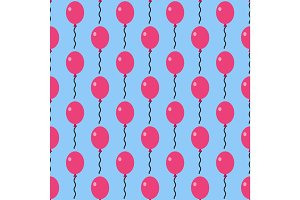 Color glossy balloons seamless pattern vector illustration.