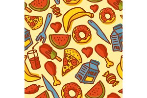 Hand made food seamless pattern vector.
