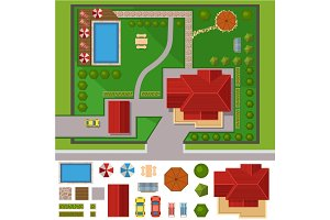House landscape constructor vector illustration.
