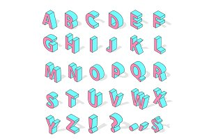 Isometric alphabet font isolated vector.
