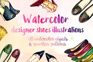 Watercolor shoes illustrations