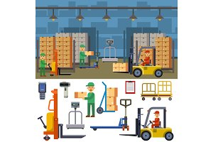 Warehouse storage vector illustration.