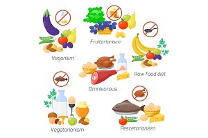 Food diet types vector illustration.