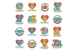 Pet badge vector cat and dog veterinary set.