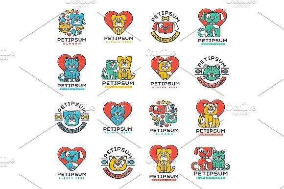 Pet Badge Vector Cat And Dog Veterinary Set