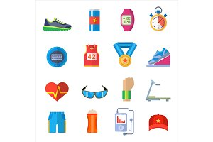Run sport accessory icons vector set.
