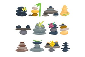 Pyramid from sea pebble relax heap stones isolated vector illustration.