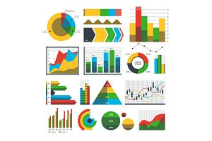 Graph chart icons vector.
