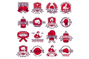 Set of cool fighting club emblems, labels, badges vector.