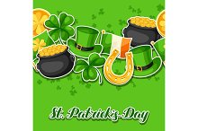Saint Patricks Day seamless pattern. Flag Ireland, pot of gold coins, shamrocks, green hat and horseshoe