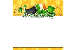 Saint Patricks Day frame. Flag Ireland, pot of gold coins, shamrocks, green hat and horseshoe