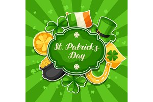 Saint Patricks Day greeting card. Flag Ireland, pot of gold coins, shamrocks, green hat and horseshoe