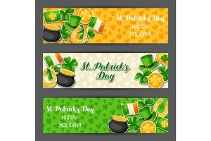 Saint Patricks Day banners. Flag Ireland, pot of gold coins, shamrocks, green hat and horseshoe