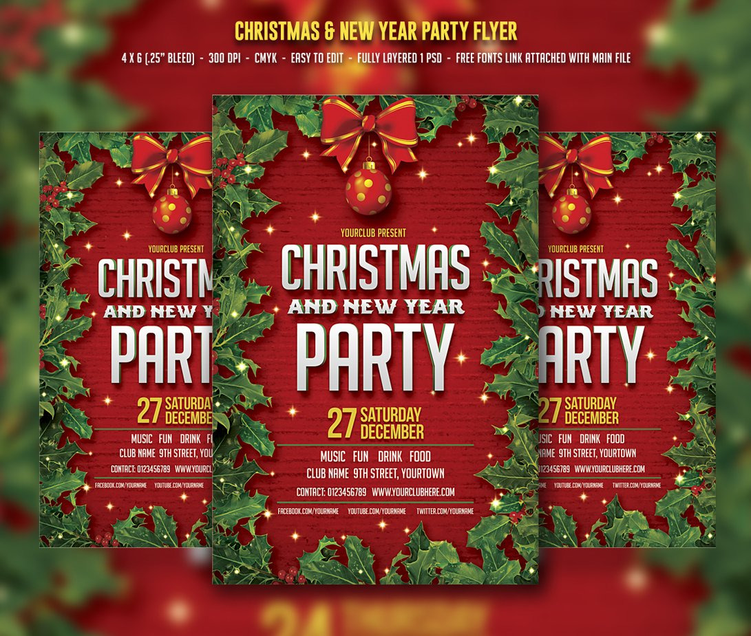 Christmas & New Year Party ~ Flyer Templates ~ Creative Market
