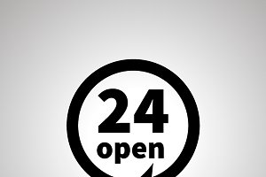 24 open sign, simple black icon