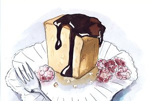 Desserts sketch. white background