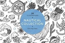 Nautical collection. Sea set.
