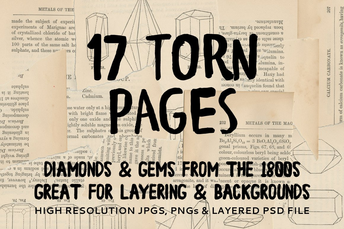Vintage Torn Pages & Bonus Layer PSD
