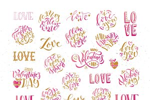 Happy Valentine's Day Lettering Set