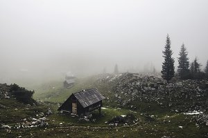 Cottages in the Autumn Mist / Fog