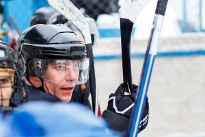 Sportsman waiting for substitution in hockey game
