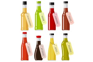 Oriental Sauce Kinds in Glass Transparent Bottles