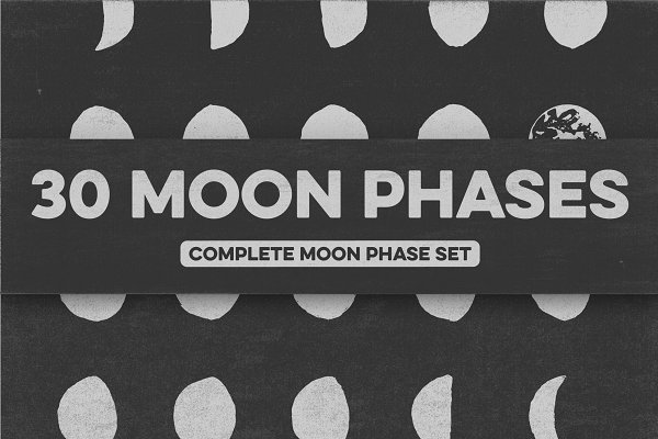 30 Hand-Drawn Moon Phases