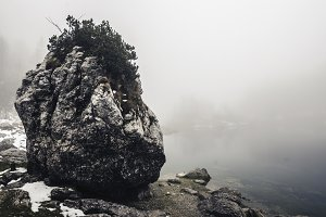 Rock, Mist, Fog and Lake in Autumn