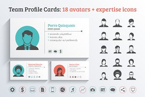 Team Profile Business Cards Template