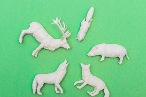 animal figures in white