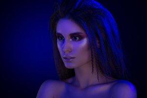 Beauty portrait in blue colors