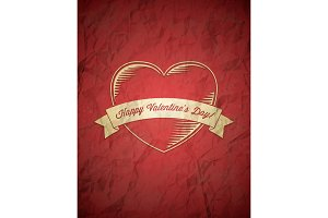 Crumpled vintage Valentines Day card