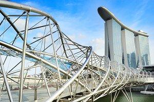 The Helix Bridge and Marina Bay