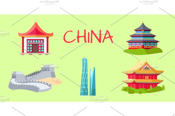 China Travelling Elements For Tourists On Green