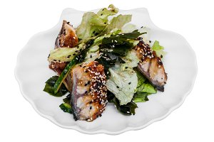 Fresh eel sashimi salad on a plate